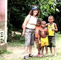 Gail Small visiting kids in the Dominican Republic