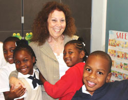 Gail with students in St. Kitts